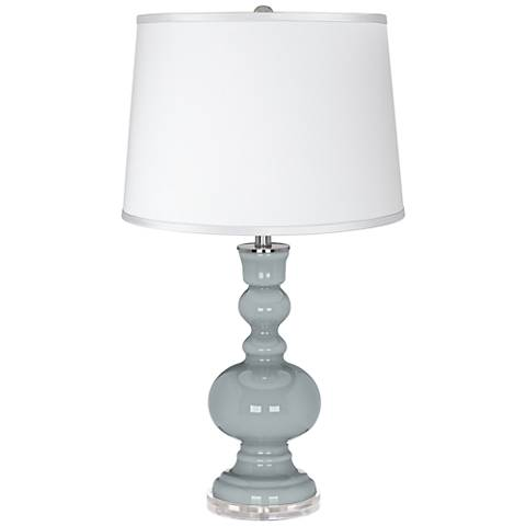 Uncertain Gray - Satin Silver White Shade Table Lamp