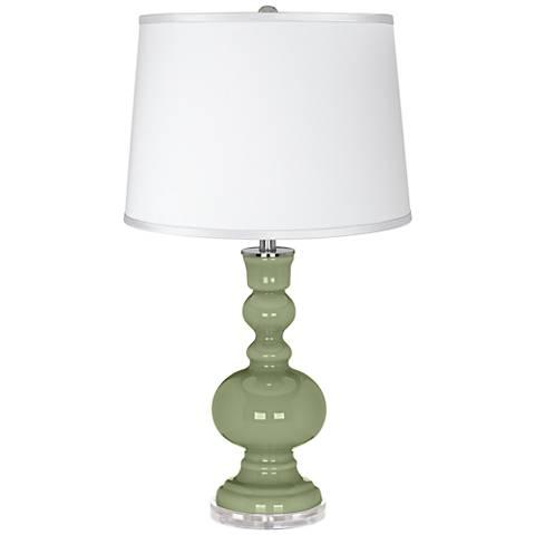 Majolica Green - Satin Silver White Shade Table Lamp