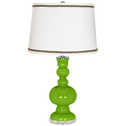 Neon Green Apothecary Table Lamp with Ric-Rac Trim