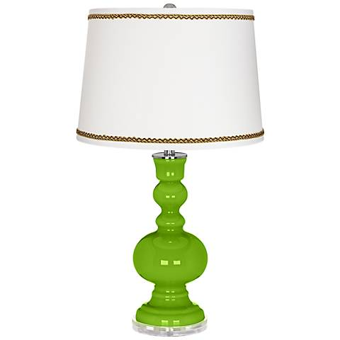 Neon Green Apothecary Table Lamp with Twist Scroll Trim
