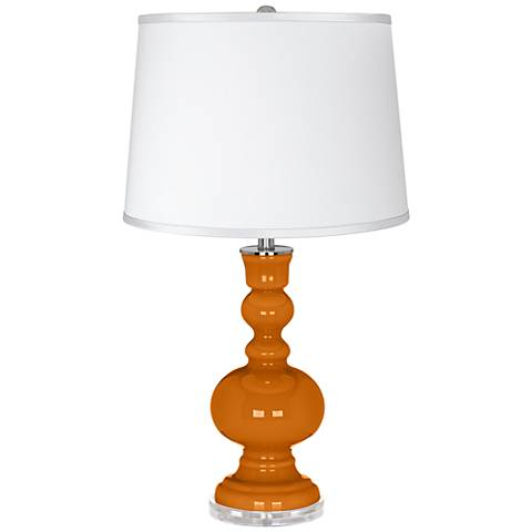 Cinnamon Spice - Satin Silver White Shade Table Lamp