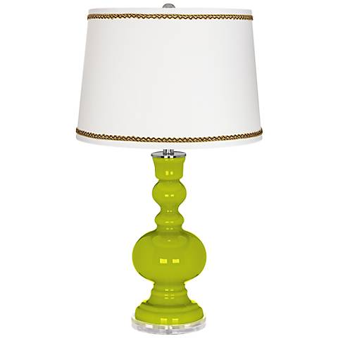 Pastel Green Apothecary Table Lamp with Twist Scroll Trim