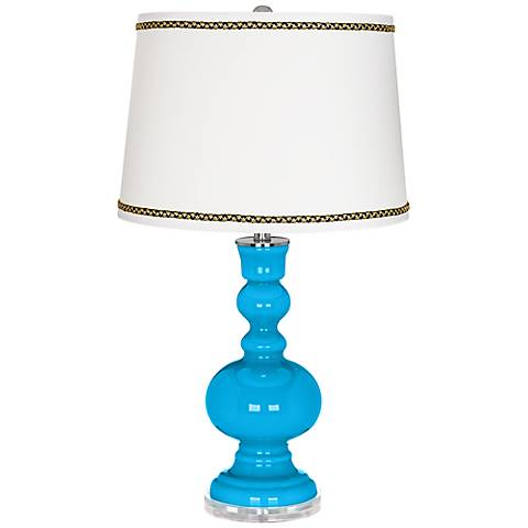 Sky Blue Apothecary Table Lamp with Ric-Rac Trim