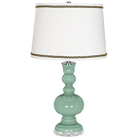 Grayed Jade Apothecary Table Lamp with Ric-Rac Trim