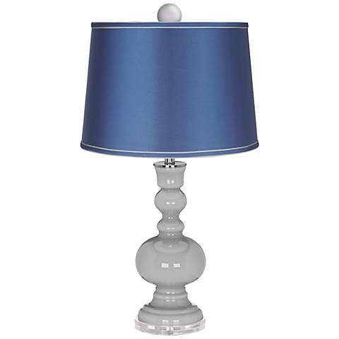 Swanky Gray Apothecary Lamp-Finial and Satin Blue Shade