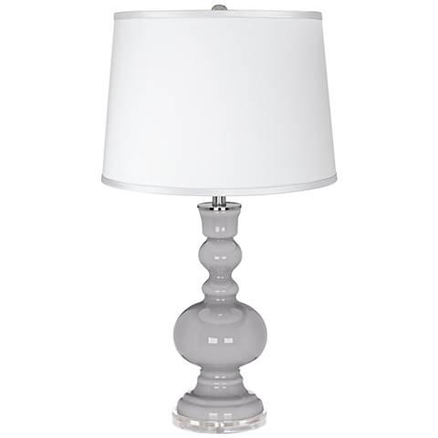 Swanky Gray - Satin Silver White Shade Apothecary Table Lamp