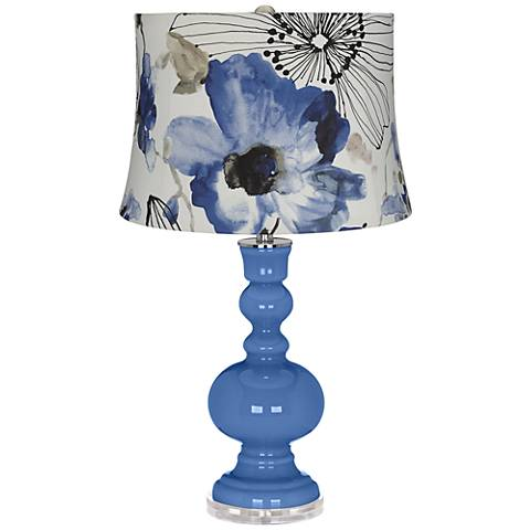 Dazzle Blue Watercolor Flowers Apothecary Table Lamp