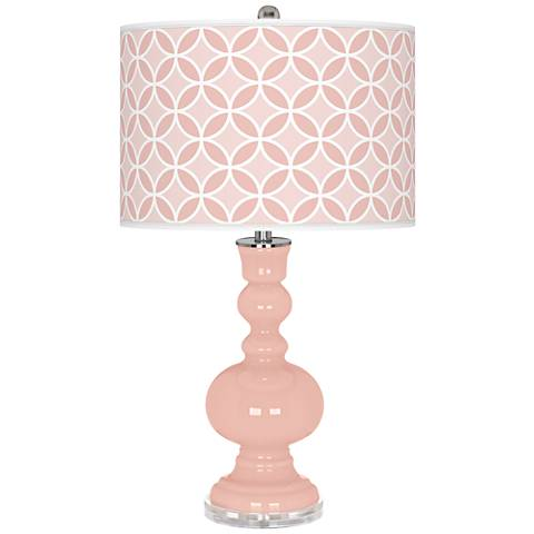 Rose Pink Circle Rings Apothecary Table Lamp