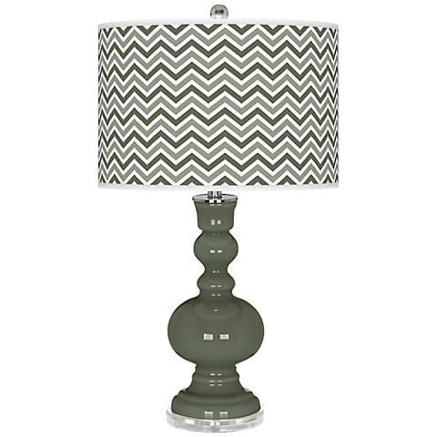 Deep Lichen Green Narrow Zig Zag Apothecary Table Lamp