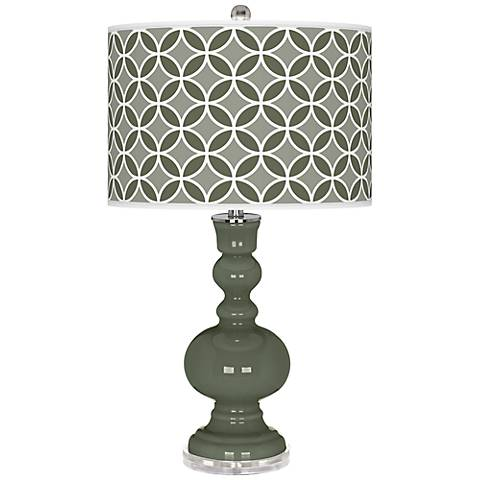 Deep Lichen Green Circle Rings Apothecary Table Lamp
