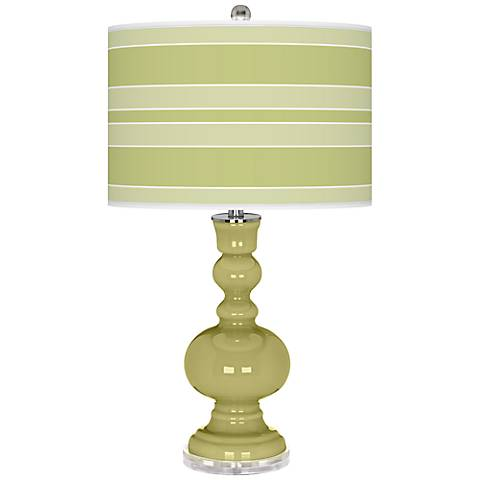 Linden Green Bold Stripe Apothecary Table Lamp