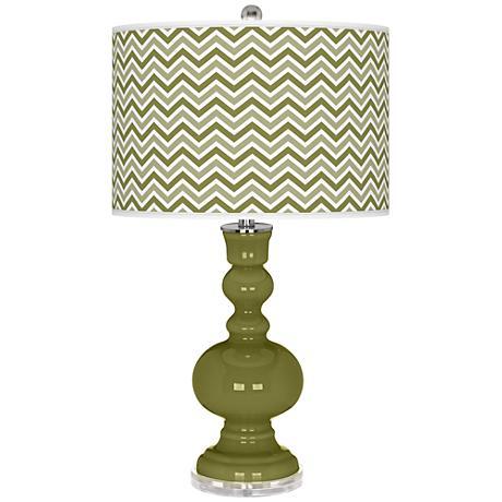 Rural Green Narrow Zig Zag Apothecary Table Lamp