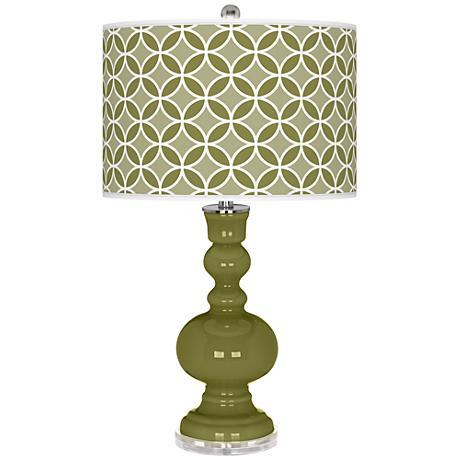 Rural Green Circle Rings Apothecary Table Lamp