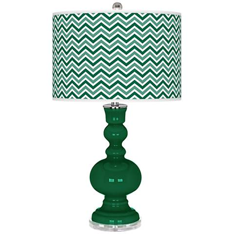 Greens Narrow Zig Zag Apothecary Table Lamp