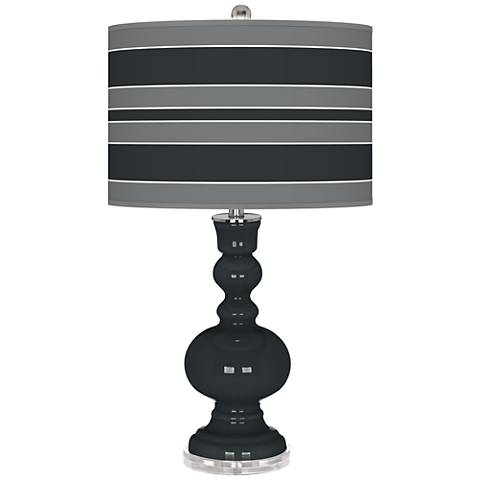 Black of Night Bold Stripe Apothecary Table Lamp