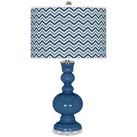 Regatta Blue Narrow Zig Zag Apothecary Table Lamp