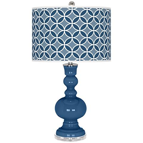 Regatta Blue Circle Rings Apothecary Table Lamp