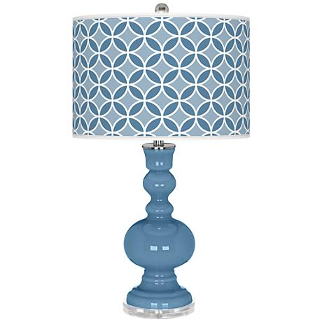 Secure Blue Circle Rings Apothecary Table Lamp
