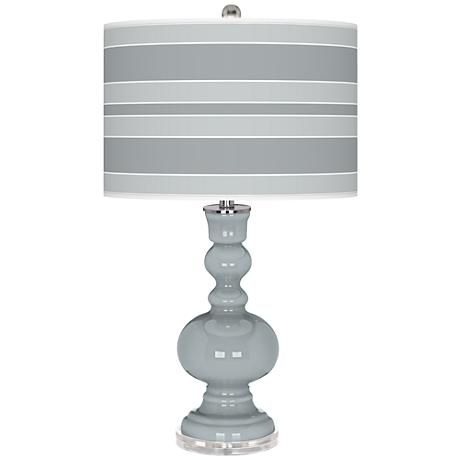 Uncertain Gray Bold Stripe Apothecary Table Lamp