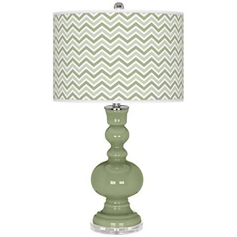 Majolica Green Narrow Zig Zag Apothecary Table Lamp