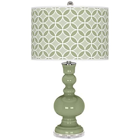 Majolica Green Circle Rings Apothecary Table Lamp