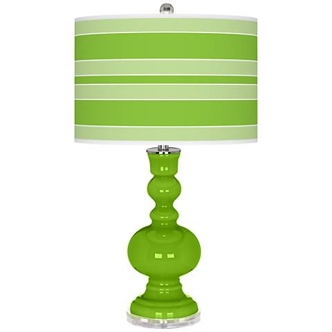 Neon Green Bold Stripe Apothecary Table Lamp