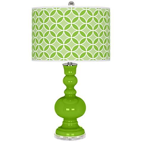 Neon Green Circle Rings Apothecary Table Lamp