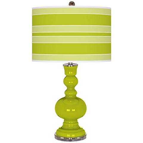 Pastel Green Bold Stripe Apothecary Table Lamp