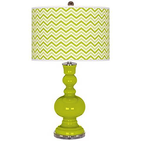 Pastel Green Narrow Zig Zag Apothecary Table Lamp
