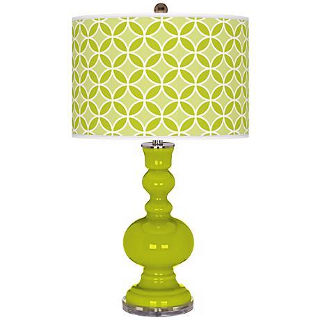 Pastel Green Circle Rings Apothecary Table Lamp