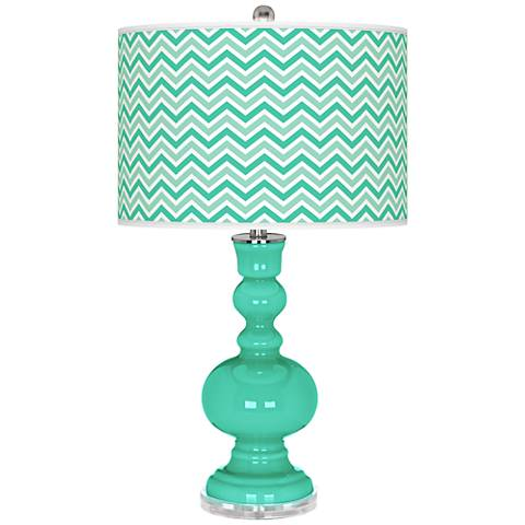 Turquoise Narrow Zig Zag Apothecary Table Lamp
