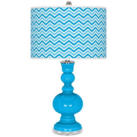 Sky Blue Narrow Zig Zag Apothecary Table Lamp