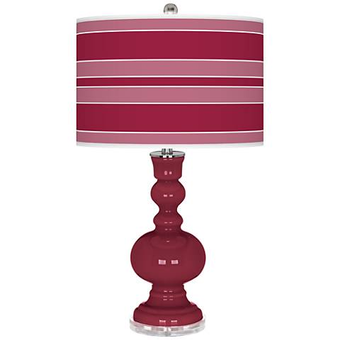 Antique Red Bold Stripe Apothecary Table Lamp