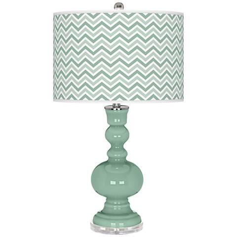 Grayed Jade Narrow Zig Zag Apothecary Table Lamp
