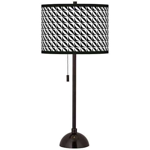 Waves Giclee Glow Tiger Bronze Club Table Lamp