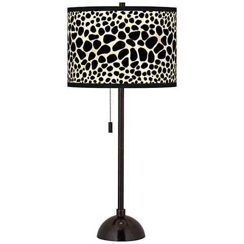 Leopard Giclee Glow Tiger Bronze Club Table Lamp