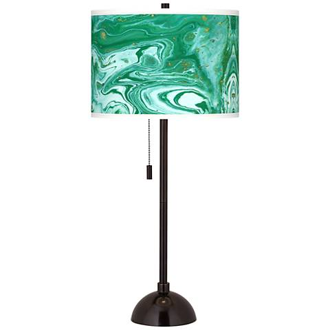 Malachite Giclee Glow Tiger Bronze Club Table Lamp