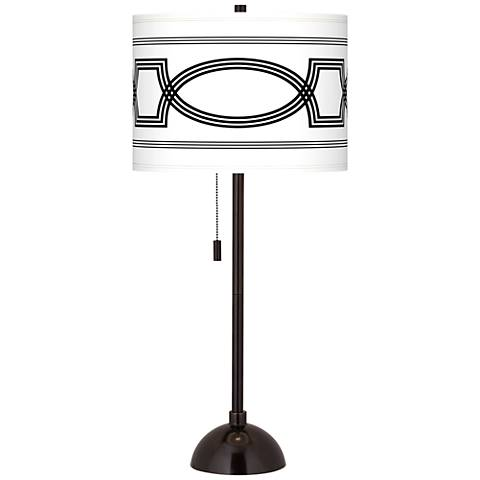 Concave Giclee Glow Tiger Bronze Club Table Lamp