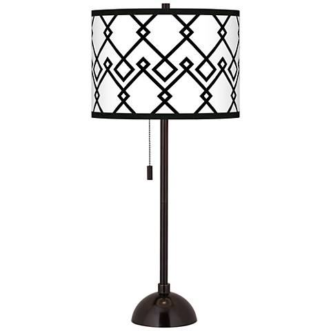 Diamond Chain Giclee Glow Tiger Bronze Club Table Lamp