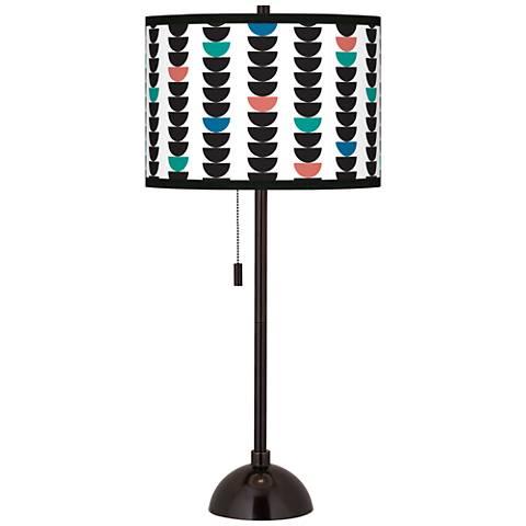 Semi-Dots Giclee Glow Tiger Bronze Club Table Lamp
