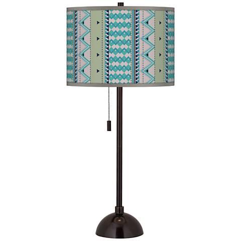 Geo Metrix Giclee Glow Tiger Bronze Club Table Lamp