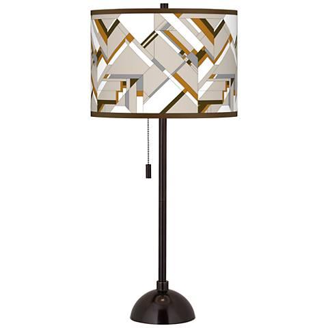 Craftsman Mosaic Giclee Glow Tiger Bronze Club Table Lamp