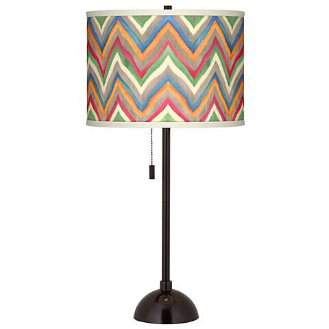 Canyon Waves Giclee Glow Tiger Bronze Club Table Lamp