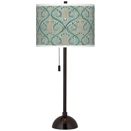 Orleans Blue Giclee Glow Tiger Bronze Club Table Lamp