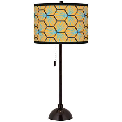 Hexagon Starburst Giclee Glow Tiger Bronze Club Table Lamp