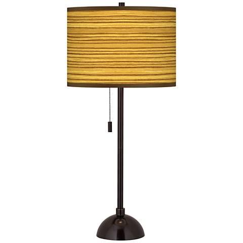 Tawny Zebrawood Giclee Glow Tiger Bronze Club Table Lamp