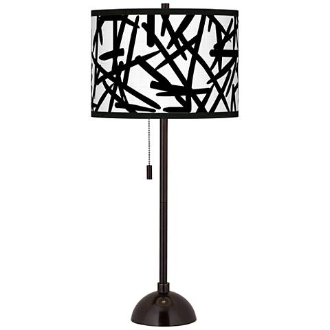 Sketchy Giclee Glow Tiger Bronze Club Table Lamp