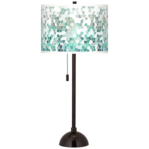 Aqua Mosaic Giclee Glow Tiger Bronze Club Table Lamp
