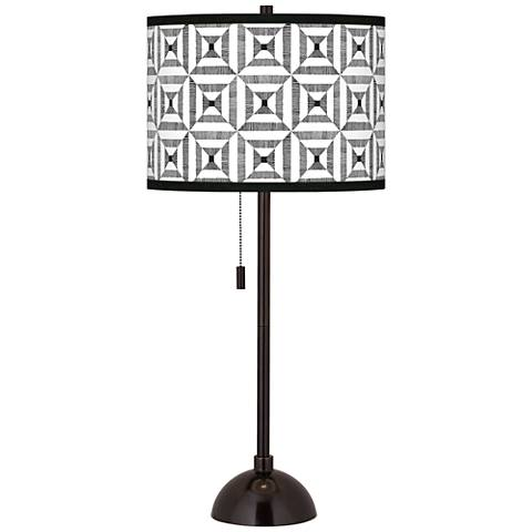 Tile Illusion Giclee Glow Tiger Bronze Club Table Lamp