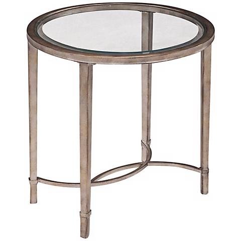 Copia Antique Silver Oval End Table